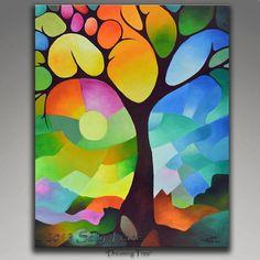 Dreaming Baum Giclée-Druck auf Leinwand von meiner ursprünglichen Malerei gemacht. Ein Baum des Lebens Malerei mit geometrischen Elementen in Farben, Koralle, Orange, Türkis, Aqua, Türkis, hellgrün, Zitrone, violett, wirbelnden Kreisen, einen Regenbogen von Farben, Landschaft,
