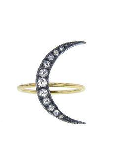 Medium Rose Cut Moon Ring