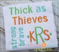 "Thick as Thieves - 1"", 1.5"", 2"", 2.5"" & 3""; Upper & Lower; Can use as MG; NOTE: Can be found in Fonts T-Z"
