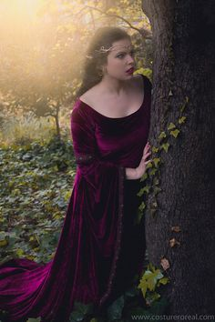Morgause dress velvet medieval costume by CostureroReal on Etsy