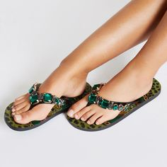 49909c3e26710f Green jewel embellished flip flops Flip Flop Shoes
