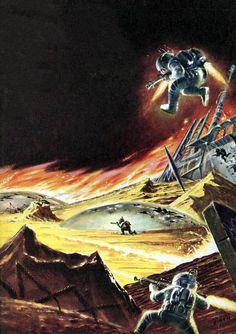 Art by Ed Emshwiller for Robert Heinlein's Starship Soldier, 1959.