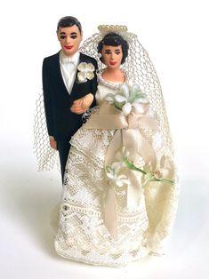 Vintage Wedding Cake Topper Bride and Groom Figurines | Etsy