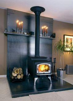Wood stove mantel idea