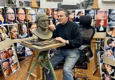 Zenos Frudakis working on sculpture of Justice Ruth Bader Ginsburg. Work in progress as of 10/21/2020. #ruthbaderginsburg #rbg #rbgsculpture #rbgstatue #Justice #JusticRuthBaderGinsburg #ZenosFrudakis #Zenos Justice Ruth Bader Ginsburg, Memories, Sculpture, Statue, Portrait, Sculpting, Headshot Photography, Men Portrait, Sculptures