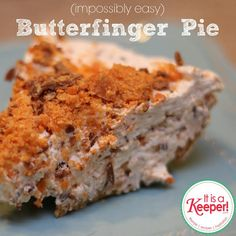 So many quick and easy desserts. Easy Dessert Recipes: Impossibly Easy Butterfinger Pie - It's a Keeper 13 Desserts, Quick Dessert Recipes, Delicious Desserts, Yummy Food, Easy Recipes, Butterfinger Pie, Yummy Treats, Sweet Treats, Pie Dessert
