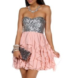 Clare-Silver/Pale Blush Homecoming Dress
