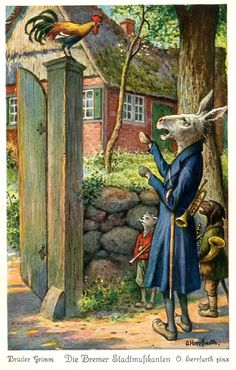 Brothers Grimm, The Bremen Town Musicians, illustrated by Oskar Herrfurth!!
