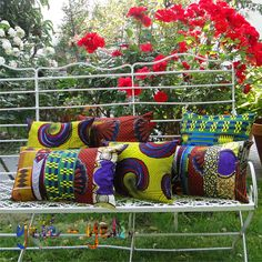 African Wax Print Fabric Cushions
