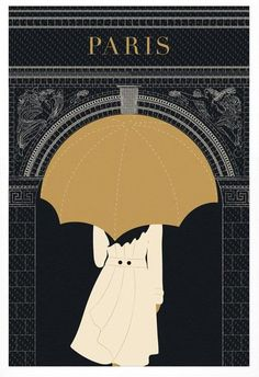 Paris Print, Paris Illustration, Umbrella, Arc de Triomphe, Black and Gold Paris Decor Illustration Parisienne, Art Et Illustration, Vintage Illustrations, Fashion Illustrations, Art Deco Posters, Poster Prints, Art Prints, City Poster, Paris Poster