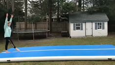 Hot Selling Blue And White Airtrack Air Tumble Track Gymnastics Tricks, Tumbling Gymnastics, Gymnastics Skills, Gymnastics Equipment, Gymnastics Training, Gymnastics Workout, Sport Gymnastics, Olympic Gymnastics, Flips Gymnastics