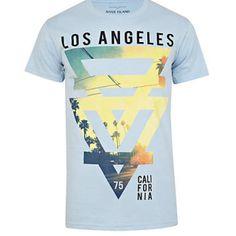 Blue Los Angeles print t-shirt River Island Fashion, T Shirt Vest, Mens Fashion, Fashion Outfits, Mens Sale, Mens Clothing Styles, Mens Tops, Shirts, California