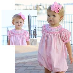 Light Pink Smocked Short Sleeve Bubble