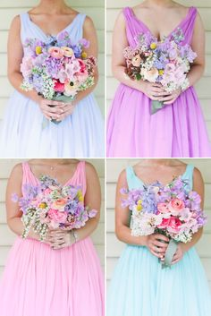 The prettiest combination of pastel bridesmaids dresses and bouquets