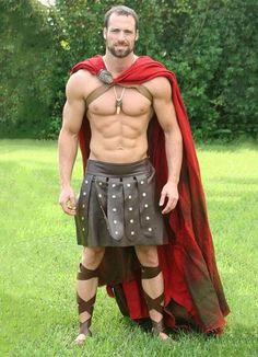 """hotcunts: """" I think someone is hoping for a spot on the new Spartacus Blood and Sand """" Gay Halloween Costumes, Gay Costume, Warrior Costume, Halloween Men, Spartan Costume, Fantasy Costumes, Gladiator Costumes, Hunks Men, Male Cosplay"""