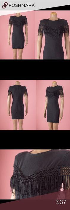 Vintage 1990s Black Fringed Jersey Knit Dress This little black dress has a lovely fringe at the chest. Stretchy and made of a cotton/spandex blend   { c o n d i t i o n }  there is a small hole by the seam at the side close to the bottom. Not a noticeable flaw.  { m e a s u r e m e n t s }  taken with garment laying flat s h o u l d e r : 15 inches (seam to seam) b u s t : 17-18 inches (armpit to armpit) w a i s t : 13-14 inches across h i p : 15-17 inches across (at widest point) l e n g t…