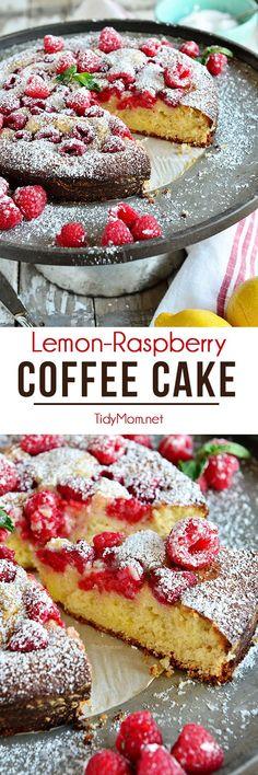 Brighten your morning with this tart coffee cake bursting with sweet raspberries. Lemon Raspberry Coffee Cake recipe at TidyMom.net