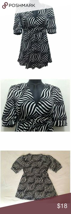 Michael Kors Zebra Print Kimono Style Kimono Style Blouse; Cinched at the waist; Arm Length: 12in, Length: 29in; 100% Polyester; Perfect Condition, No rips, tears, stains or smell; Barely Used - Like New; Comes from a smoke free and pet free home Michael Kors Tops Blouses