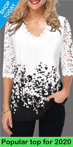 Office Lace Shirt White Print Tshirt For Women Spring Summer 2020 Plus Size Ladies New Top Shirts Elegant V Neck T Shirt Femme Trendy Tops For Women, Fashion Dresses, Clothes For Women, Spring Break, Spring Summer, Summer Tops, Money, Free Shipping, Work Blouse