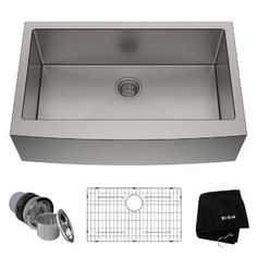 KRAUS Handmade All-in-One Undermount Stainless Steel 32 in. Single Bowl Kitchen Sink with Faucet in Stainless - The Home Depot Best Kitchen Sinks, Apron Sink Kitchen, Single Bowl Kitchen Sink, Farmhouse Sink Kitchen, Cool Kitchens, Kitchen Cabinets, Kitchen Appliances, Barn Kitchen, Kitchen Faucets