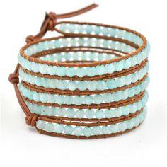 Wrap Bracelet, Wrap Boho Bracelet, Leather Bracelet, Sky Blue Beaded Wrap Bracelet, Beaded Wrap Bracelet, Travel Bracelet, For Her Bracelet by RadiantLotusJewelry on Etsy Beaded Wrap Bracelets, Cuff Bracelets, Stone Wrapping, Sky, Beads, Unique Jewelry, Handmade Gifts, Gold, Leather