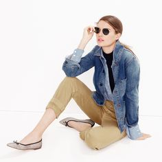 J.Crew Looks We Love: women's denim workwear jacket, stretch perfect shirt in classic stripe, Tippi mockneck sweater, broken-in boyfriend chino, Ray-Ban® retro round sunglasses and Gemma sand glitter flats.