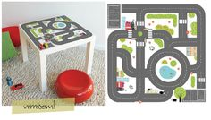 sticker for ikea table  Or just print image/images and modpodge onto table!!
