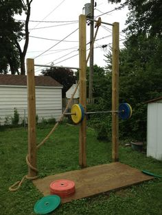 Awesome idea. Found this on tumblr. Home made - squat rack, pull up and muscle up bars, rope, and lifting platform.