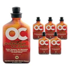 LOT 6 OC Overnight Celebrity Rsun UV Absorbing Lotion Tan Bed Accelerator Tanner by OC. $85.99. Anti-Cellulite/Skin Firming. Tan Accelerator, Bronzer, Skin Firming. Level 16 Accelerators. 4x Bronzer. Fragrance: Creme Brulee. Rsun introduces the OC collection of tanning lotions and accelerators to enhance the longevity and depth of your tan. With the overnight celebrity lotion, you'll get immediate dark tanning results with the DHA, Walnut Extract, Erythrulose, and Control ...