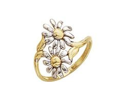 Two-Tone Gold Enamel Double Flower Ring - Size - Grams in Yellow Gold and White Gold - FREE gift-ready jewelry box Daisy Ring, I Love Jewelry, Jewelry Gifts, Jewelry Box, Diamond Jewelry, Gifts For Women, White Gold, Bling, Jewels