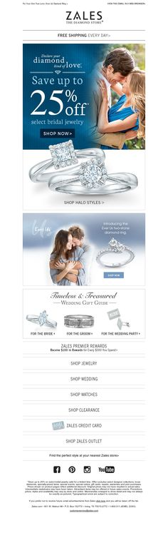 Example of ZALES branded email promoting Wedding Event & Collections