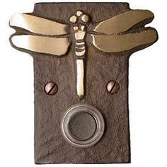 Dragonfly Doorbell In some parts of the world it is considered lucky to have a dragonfly land on you. This dragonfly doorbell is handcast in bronze. Time and weather take a creative role as each doorbell develops its own rich patina. Door Knockers, Door Knobs, Doorbell Cover, Entry Door Locks, Mission Furniture, Ceramic Houses, Craftsman Style, Craftsman Kitchen, Knobs And Handles