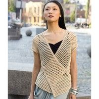 Tahki Yarns Tokyo Vest (Free)   The Tokyo Vest uses geometry to make an innovative and attractive garment. Crocheted in two long rectangles, then strategically seamed, this open-worked, cross-over vest is made from Tahki Cotton Classic Lite, so you'll feel cool while looking great.
