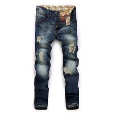 HOT jeans men fashion ripped distressed destroyed denim
