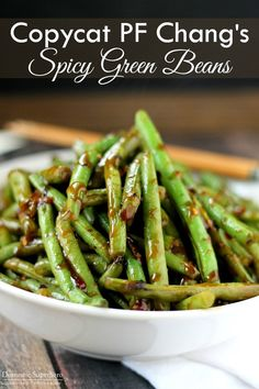 green bean recipes This is the best Copycat PF Changs Spicy Green Beans recipe and perfect as a side dish or vegetarian main dish served over rice! Vegetarian Main Dishes, Vegetable Side Dishes, Asian Side Dishes, Spicy Vegetarian Recipes, Vegan Food, Delicious Recipes, Best Side Dishes, Thai Recipes, Asian Asparagus Recipes