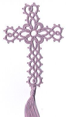 Julie Patterson's Hearts and Flower Cross Bookmark a great gift idea for some of my religious friends    I am working this one now