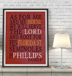 "Florida State Seminoles FSU inspired Customized Art Print- ""As for Me"" Parody- Unframed Print"