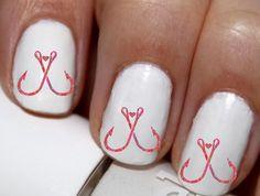20 pc Double Fish Hook Girls Fish Too Fish Hook Love  Nail Art Nail Decals #cg2771na