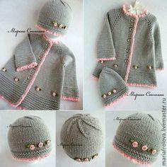 Одежда для девочек, ручной работы. Ярмарка Мастеров - ручная работа. Купить Кардиган и шапочка - комплект для девочки. Handmade. Серый, полушерсть