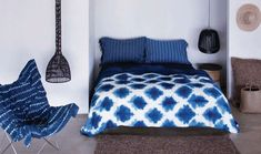Indigo blue shibori sheets