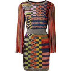 Missoni Metallic stretch-knit mini dress ($1,620) ❤ liked on Polyvore featuring dresses, orange, rainbow dresses, short-sleeve dresses, metallic short dress, short striped dress and orange mini dress