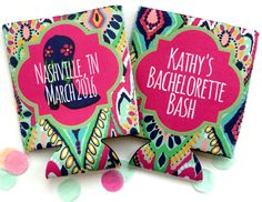 Lilly Crown jewel bachelorette or birthday party Koozies! Colorful Lilly party favors!