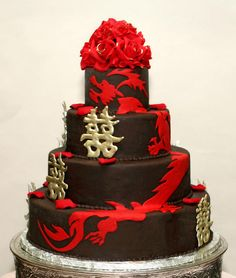 Double gold happiness and red dragon-themed wedding cake, by Konditor Meister Elegant Wedding Cakes