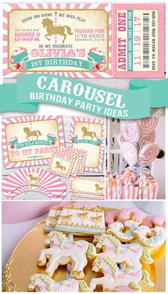 Carousel Birthday Party ideas and Carousel Birthday invitation from PartyMonkey . - PartyMonkey on Etsy - Birthday Party Carousel Birthday Parties, Carousel Party, Girl Birthday Themes, Circus Birthday, First Birthday Parties, First Birthdays, Birthday Ideas, Circus Theme, Circus Party