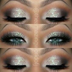 Hochzeits Make-up Silber Glitter Ideen - Wedding Makeup Celebrity Silver Glitter Eye Makeup, Blue Eye Makeup, Skin Makeup, Beauty Makeup, Wedding Makeup For Blue Eyes, Makeup Looks For Prom, Eyeshadow Blue Eyes, Silver Eyeshadow Looks, Fairy Eye Makeup