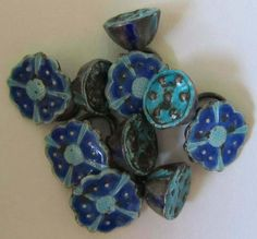 ANTIQUE CHINESE SILVER ENAMEL BLUE TURQUOISE BUTTONS BUTTON SET