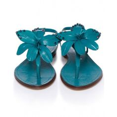 Bruno Premi Shoes | Women's Orchid Flower Sandals ($52) ❤ liked on Polyvore featuring shoes, sandals, blue, turquoise, turqoise, blue leather shoes, studded shoes, genuine leather shoes, leather shoes and ankle wrap sandals