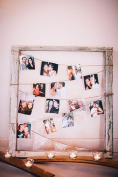 wood frame + twine + candles