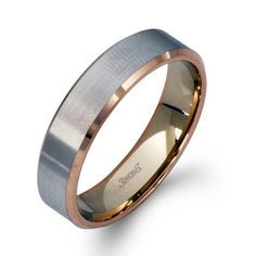 Simon G. 14K White and Rose Gold Two-Tone 5.5 MM Wedding Band with Satin Finish and High Polish  Edges. $1430