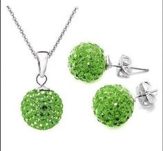 10mm Parrot Green Disco Balls Solid 925 Silver Necklace Earrings Sets +Gift box